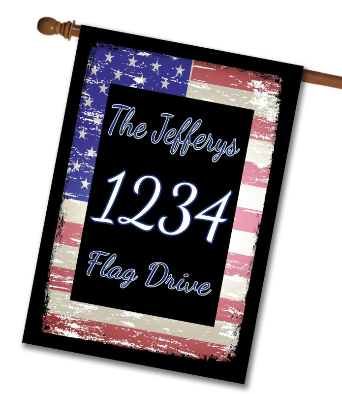 Faded USA Flag - Address House Flag - 28'' x 40''