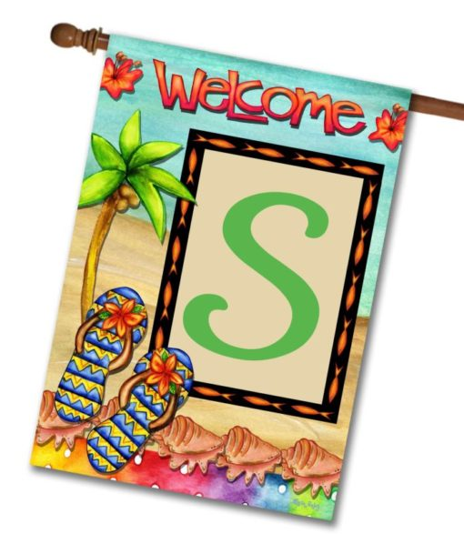 Flip Flop Welcome  - Monogram House Flag - 28'' x 40''