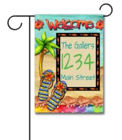 Flip Flop Welcome  - Address Garden Flag - 12.5'' x 18''