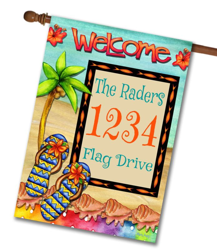 Flip Flop Welcome  - Address House Flag - 28'' x 40''