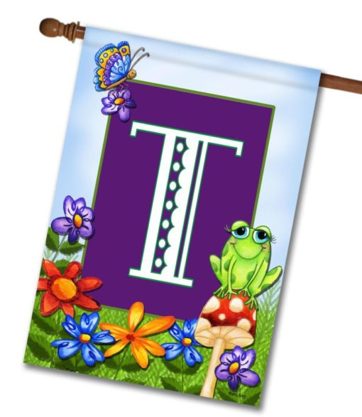 "Frog On Mushroom - Monogram House Flag 28""x40"""