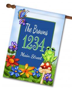 """Frog On Mushroom - Address House Flag 28""""x40"""""""