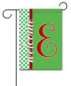Gingham Welcome - Monogram Garden Flag - 12.5'' x 18''