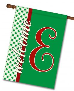 "Gingham Welcome - Monogram House Flag 28""x40"""