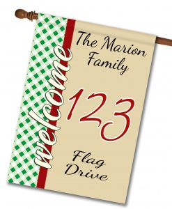 "Gingham Welcome - Address House Flag 28""x40"""