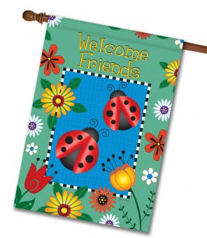 Ladybug Welcome Friends- House Flag - 28'' x 40''