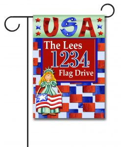 Miss Liberty USA- Address Garden Flag- 12.5'' x 18''