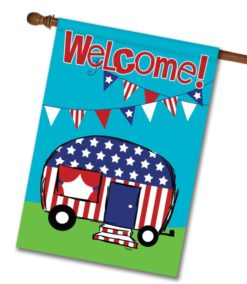 Patriotic Camper Welcome Flag- House Flag - 28'' x 40''