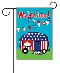 Patriotic Camper Welcome Flag- Garden Flag - 12.5'' x 18''