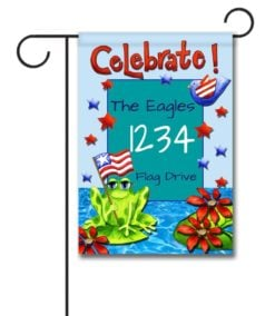 Patriotic Frog- Address Garden Flag- 12.5'' x 18''