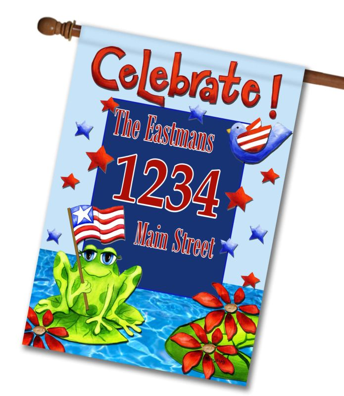 Patriotic Frog - Address House Flag - 28'' x 40''