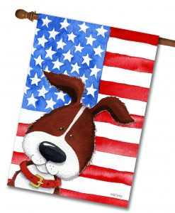 Patriotic Pup- House Flag - 28'' x 40''
