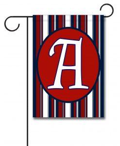 Patriotic Stripes II- Monogram Garden Flag- 12.5'' x 18''