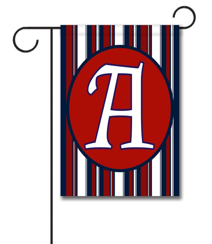 Patriotic Stripes II- Monogram Garden Flag- 12.5'' x 18''