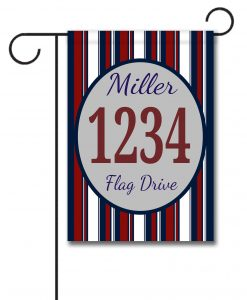 Patriotic Stripes II- Address Garden Flag- 12.5'' x 18''