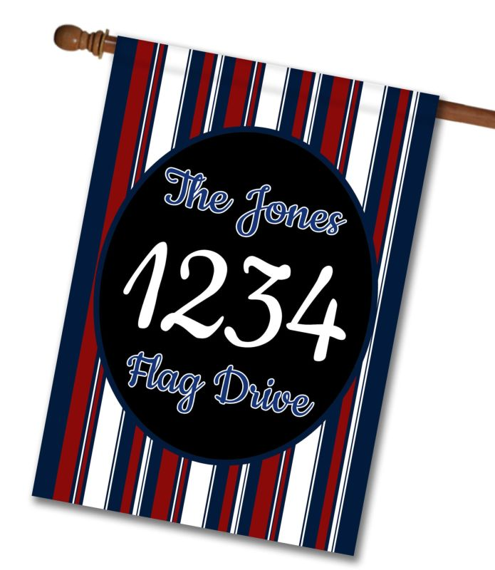 Patriotic Stripes II - Address House Flag - 28'' x 40''