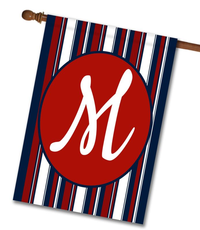 Patriotic Stripes II - Monogram House Flag - 28'' x 40''