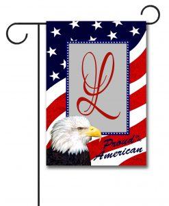 Proud American Eagle- Monogram Garden Flag- 12.5'' x 18''