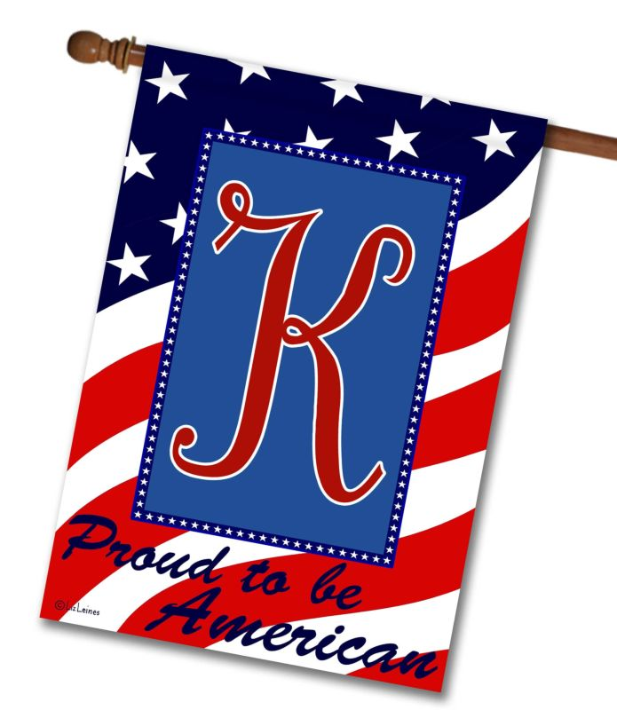 Proud to be American - Monogram House Flag - 28'' x 40''