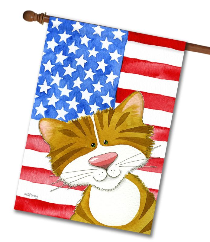 Purrfectly Patriotic- House Flag - 28'' x 40''