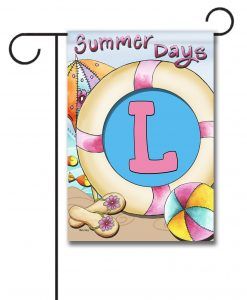 Summer Days  - Monogram Garden Flag - 12.5'' x 18''