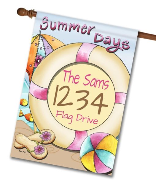 Summer Days  - Address House Flag - 28'' x 40''