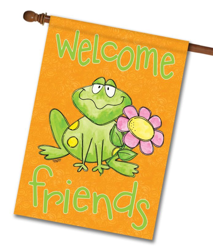 Welcome Friends Frog- House Flag - 28'' x 40''