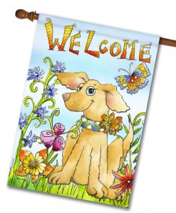 Welcome Spring Dog Flag- House Flag - 28'' x 40''