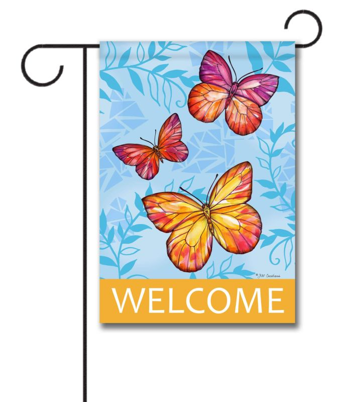 Colorful Butterfuly Welcome Garden Flag 12 5 X 18