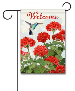 Hummingbird and Floral Welcome Garden Flag
