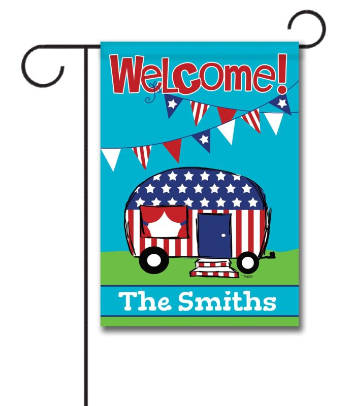 Personalized Patriotic Camper Welcome Flag - Garden Flag - 12 5'' x 18''