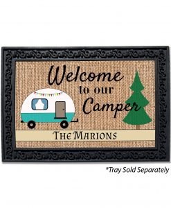 Personalized Burlap Camping Welcome Doormat