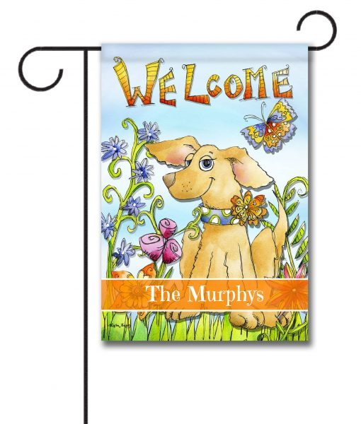 Personalized Spring Dog Welcome Flag Garden Flag