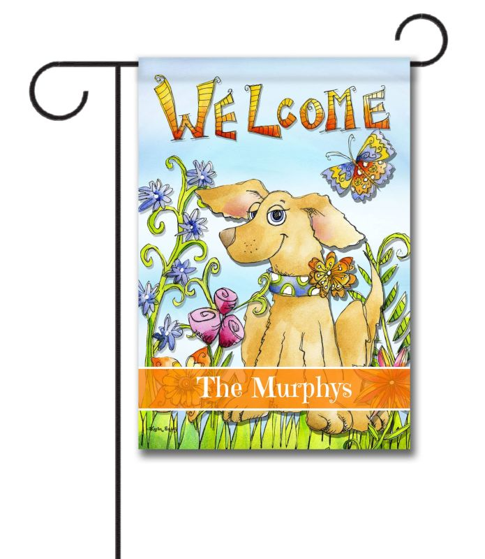 Personalized Welcome Spring Dog Flag Garden Flag 12 5