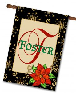 Poinsettia Christmas Family House Flag