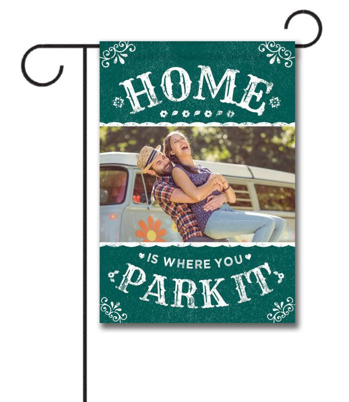 home is where you park it vintage - photo garden flag - 12 5 u0026 39  u0026 39  x 18 u0026 39  u0026 39