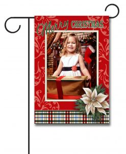Red Plaid White Poinsettia Photo Garden Flag