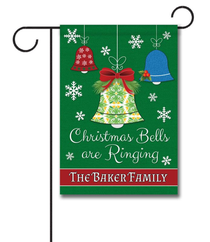 Personalized Christmas Bells Are Ringing Garden Flag