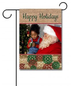 Burlap Happy Holidays Garden Photo Flag