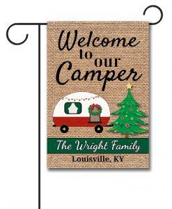 Camping Christmas Garden Flag