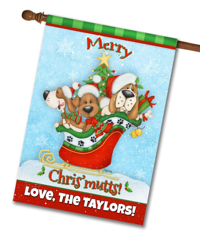 Personalized Merry Chrismutts House Flag 28 Quot X 40
