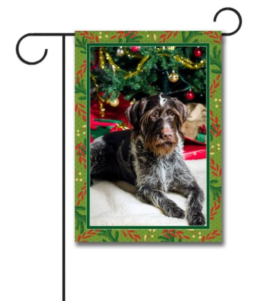 Green and Red Holiday Garden Photo Flag