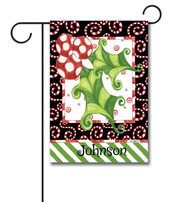 Personalized Holly Leaf Garden Flag 12 5 39 39 X 18