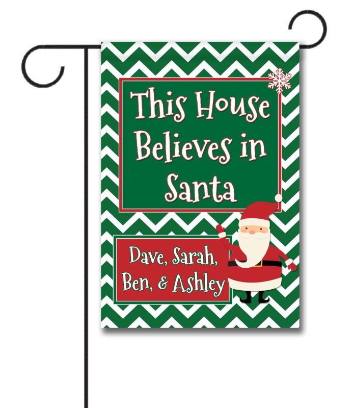 Personalized This House Believes in Santa - Garden Flag - 12.5\'\' x ...