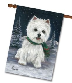Winter Snow Westie House Flag