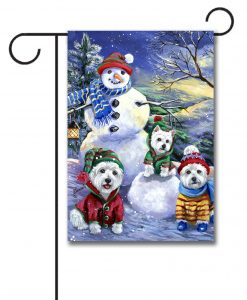 Winter Westie Snowman Garden Flag