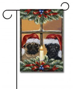 Candle Pug Christmas Garden Flag