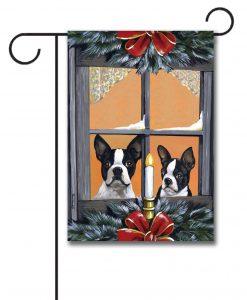 Boston Terrier Looking For Santa U2013 Garden Flag U2013 12.5u201d X 18u201d