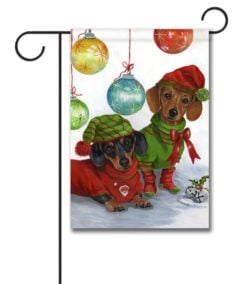 Ornament Doxie Christmas Garden Flag