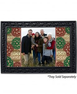 Burlap Christmas Flowers Photo Doormat